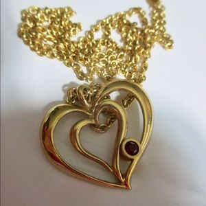 Vintage Avon Double Heart Simulated Ruby Necklace